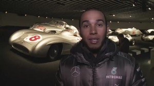 Lewis Hamilton showing round the Mercedes-Benz Museum