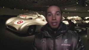Lewis Hamilton showing round the Mercedes-Benz Museum