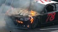 Kurt Busch catches fire at Martinsville!!