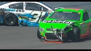 NASCAR Danica Patrick, Travis Kvapil, and Jeff Burton Crash   Pocono (2013)