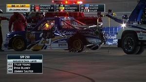 Ryan Blaney takes violent side impact - Three trucks destroyed