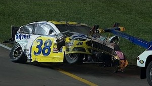 Massive Crash! Allgaier & Gilliland Walk Away From Scary Wreck - 2014 NASCAR Kansas