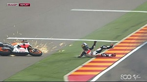 Dani Pedrosa Wrecks in Rain - Aragon GP 2014