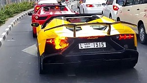 A Lamborghini Aventador SV catches fire and burns to the ground in Dubai