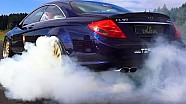 BMW M5 vs MERCEDES CL65 AMG DRAG RACE ACCELERATION Sound V12 Biturbo vs V8 Biturbo