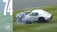 Dramatic AC Cobra crash into tyre wall