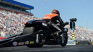 Pro Stock Motorcycle rider Andrew Hines wins in at the #4WideNats in Charlotte
