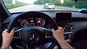 Mercedes A45 AMG Onboard POV Autobahn acceleration top speed Drive Sound