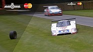 1,000bhp Jaguar XJR-12 Loses Wheel on FOS Hillclimb