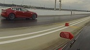 2013 Tesla Model S P85 vs 2014 Chevrolet Corvette C7 Z51 Drag Racing 1/4 Mile Heads up