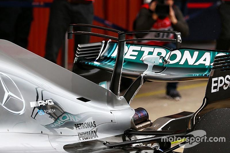 """【F1】バルセロナテスト:メルセデス、""""ダブルTウイング""""をテスト"""