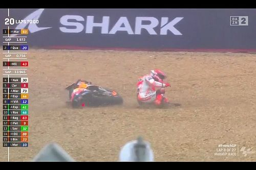 Vídeo: doble caída de Márquez, que lideró la carrera de Francia
