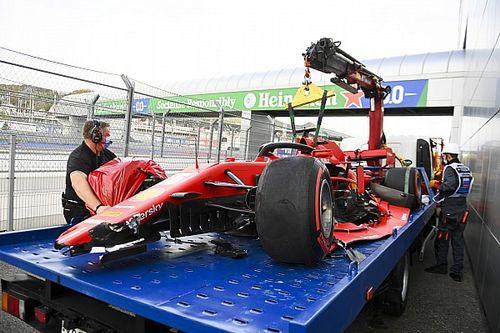 Видео: Феттель разбивает болид Ferrari в квалификации в Сочи