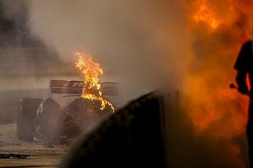 Grosjean escapes fireball shunt at Bahrain GP