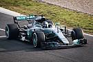 Hamilton vitte pályára a Mercedes W08 uszonnyal szerelt változatát