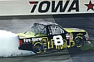 NASCAR Truck Nemechek takes Iowa victory with three-wide pass for the win