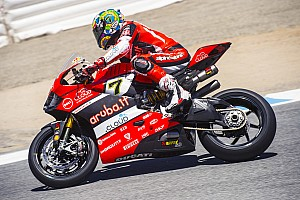 World Superbike Practice report Chaz Davies on top at Laguna Seca after Friday's sessions, Davide Giugliano is sixth