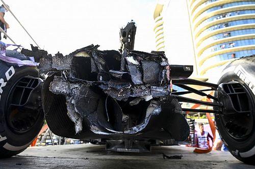 Los daños mínimos en el coche de Verstappen tras el choque en Bakú