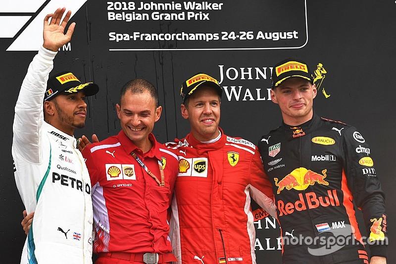 Vettel verslaat Hamilton in België, Verstappen knap derde