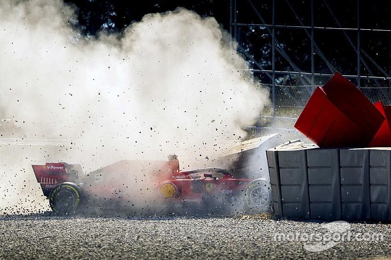 Videón Vettel autótörése a szerdai tesztnapról
