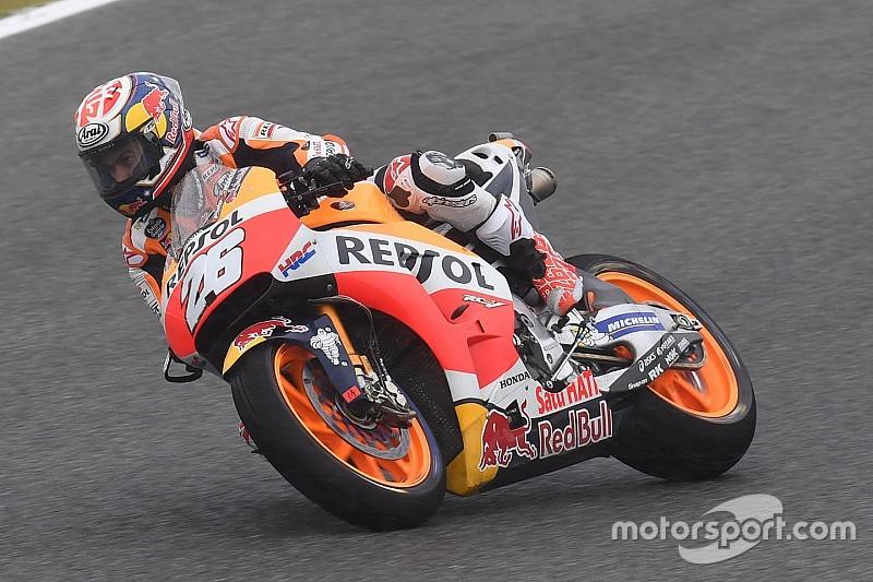 Pedrosa lidera también en seco el triplete de Honda; Lorenzo cuarto