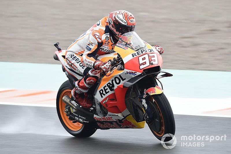 MotoGP Valencia: Marquez im nassen Warm-up vorn, Rossi starker Dritter