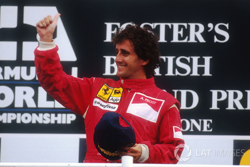 Podium: race winner Alain Prost, Ferrari