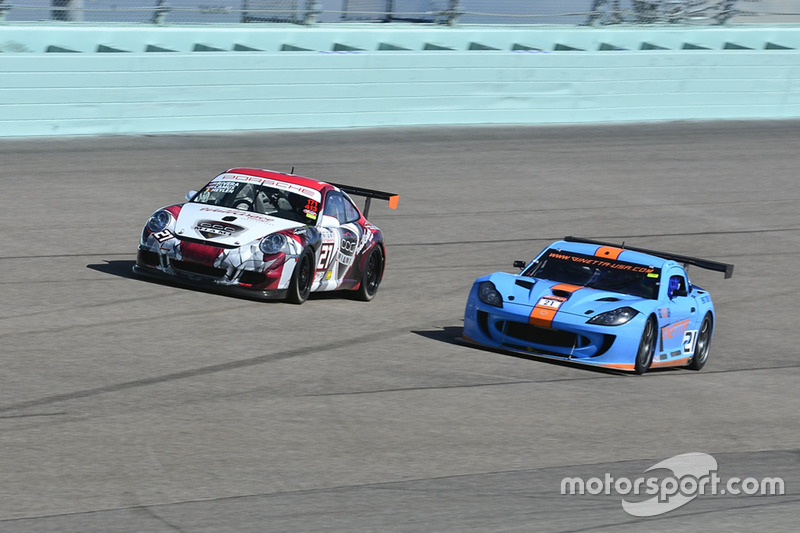 #21 MP2A Ginetta G55 driven by Elias Azevedo & Chelo La Manna of Ginetta USA, #21 MP2A Porsche GT3 C