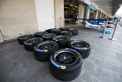 Tyres outside the Amlin Andretti Formula E Team garage in the pits