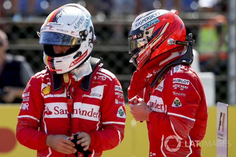 Sebastian Vettel, Ferrari, y Kimi Raikkonen, Ferrari