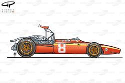 Ferrari 312/68 side view (adjustable rear wing)