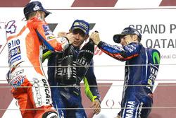 Podium: race winner Maverick Viñales, Yamaha Factory Racing, second place Andrea Dovizioso, Ducati Team, third place Valentino Rossi, Yamaha Factory Racing