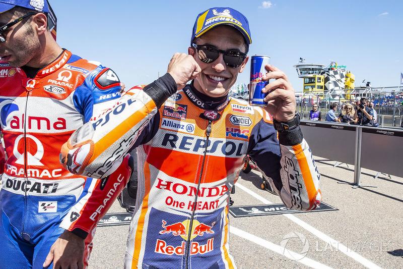 """Marc Márquez: """"Foi bem difícil, principalmente no início, porque a largada não foi perfeita. Eu perdi duas posições, e aí passar os pilotos da Ducati foi muito difícil. Depois que eu passei eu comecei a dar o máximo."""""""