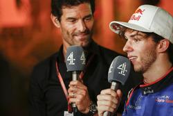 Mark Webber, Channel 4 F1, interviews Pierre Gasly, Toro Rosso