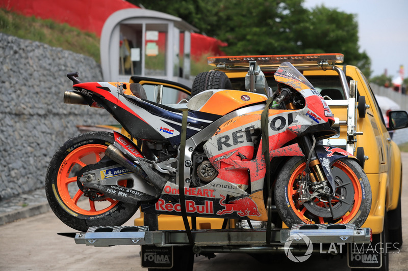 The crashed bike of Marc Marquez, Repsol Honda Team