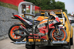 The crashed bike of Marc Marquez, Repsol Honda Team
