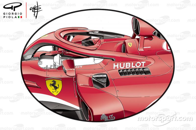 Sidepods del Ferrari SF71H en el GP de Australia