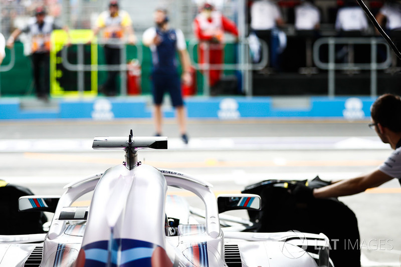 Lance Stroll, Williams FW41 Mercedes, preparing to leave the garage