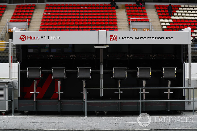The Haas F1 Team pit wall gantry