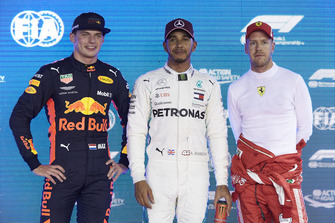 Top three Qualifiers, Max Verstappen, Red Bull Racing, pole man Lewis Hamilton, Mercedes AMG F1, and third placed Sebastian Vettel, Ferrari