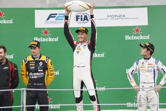 George Russell, ART Grand Prix. Artem Markelov, RUSSIAN TIME. And Sergio Sette Camara, Carlin