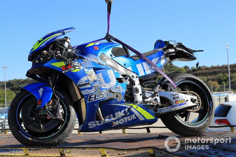 Motor Joan Mir, Team Suzuki ECStar na crash