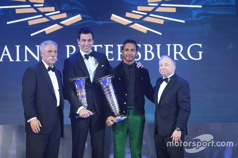 Lewis Hamilton, Mercedes-AMG F1, Jean Todt, président FI, Chase Carey, PDG de la F1, Toto Wolff, directeur exécutif Mercedes AMG