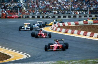 Alain Prost, Ferrari 641; Nigel Mansell, Ferrari 641;d Riccardo Patrese, Williams FW13B
