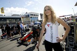 Grid girl of Callum Ilott, Van Amersfoort Racing Dallara F312 - Mercedes