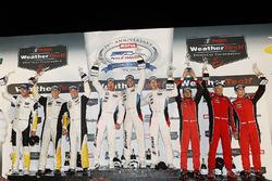 GTLM podium: winners Bill Auberlen, Alexander Sims, Kuno Wittmer, BMW Team RLL, second place Antonio Garcia, Jan Magnussen, Mike Rockenfeller, Corvette Racing, third place Toni Vilander, Giancarlo Fisichella, Alessandro Pier Guidi, Risi Competizione