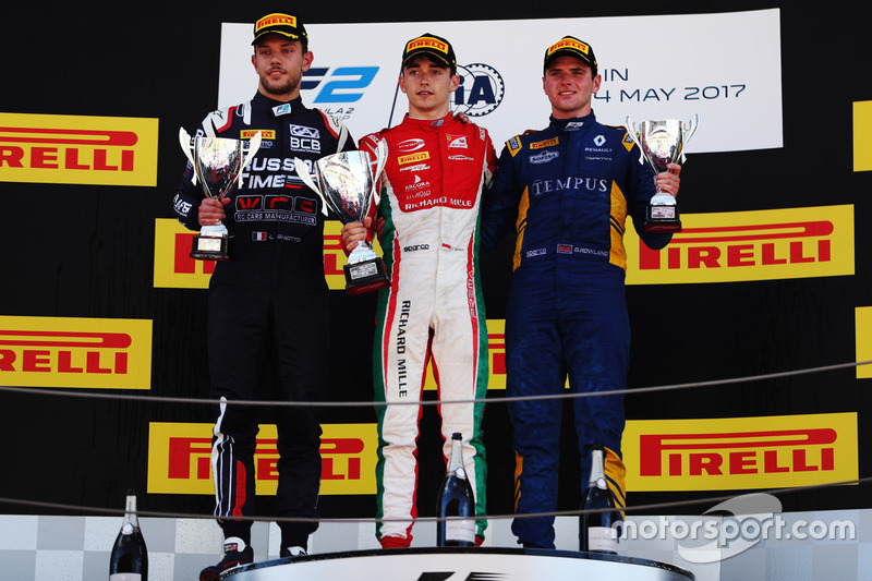 Podium: race winner Charles Leclerc, PREMA Powerteam, second place Luca Ghiotto, RUSSIAN TIME, third