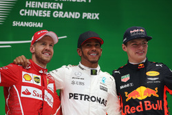 Sebastian Vettel, Ferrari Lewis Hamilton, Mercedes AMG, and Max Verstappen, Red Bull Racing, on the podium