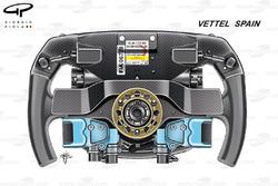 Ferrari SF70H, back view of Sebastien Vettel's steering wheel, Spanish GP