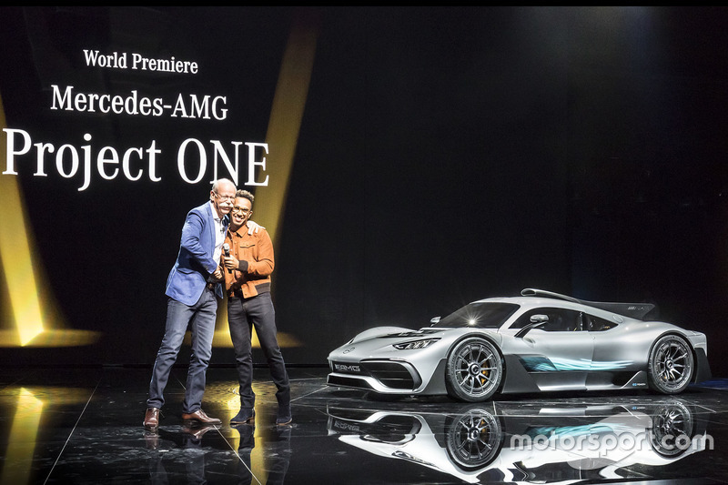 Dr. Dieter Zetsche, Chairman of the Board of Management of Daimler AG and Head of Mercedes-Benz Cars, Lewis Hamilton, present the show car Mercedes-AMG Project ONE
